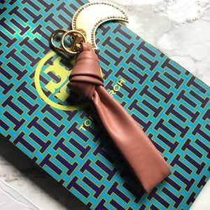 NWT Tory Burch Leather Bow Tramonto keyfob